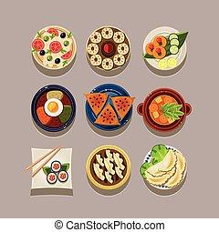 alimento, coreano, vetorial, ilustração