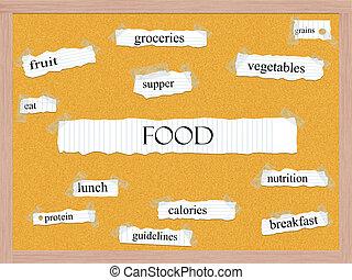 alimento, corkboard, conceito, palavra