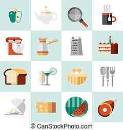 alimento, cozinhar, ícones