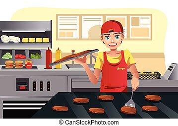 alimento, cozinhar, rapidamente