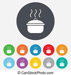 alimento, cozinhar, símbolo., sinal, ferva, icon., ou, ...