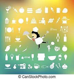 alimento, cozinheiro, bandeja, caricatura, segurando
