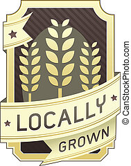 alimento, crecido, locally, etiqueta