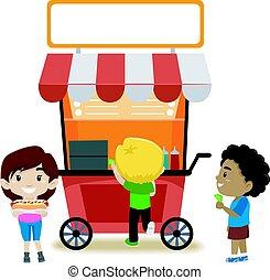 alimento, crianças, tenda, comprando