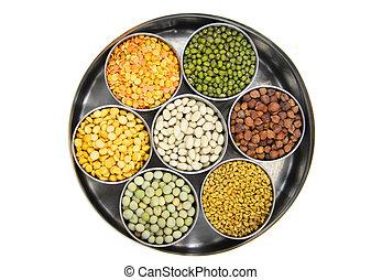 alimento, crudo, granos