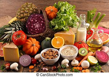 alimento, crudo, variado