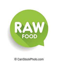 alimento, crudo, vector, verde, etiqueta