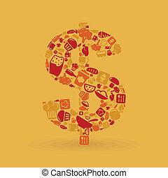 alimento, dólar