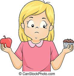 alimento, decisão, ilustração, fazer, menina, criança