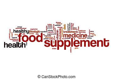 alimento del suplemento, nube, palabra