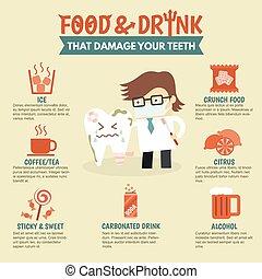alimento, dental, bebida, daño, infographic, salud, dientes,...