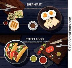 alimento, desayuno, calle, bandera