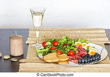 alimento, desayuno, fuente, frío