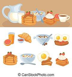 alimento, desayuno, vector, conjunto