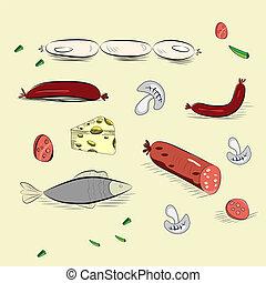 alimento, desenhado, jogo, mão
