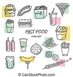 alimento, desenhado, mão, rapidamente, ícones