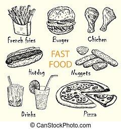 alimento, desenhado, rapidamente, mão