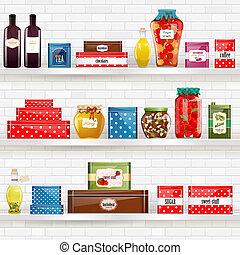 alimento, desenho, orgânica, seu, prateleiras