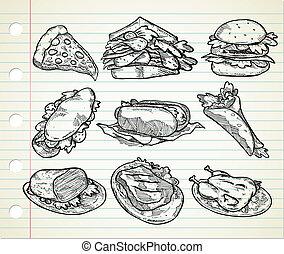 alimento, dibujado, chatarra, mano