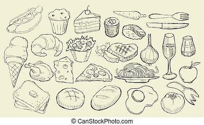 alimento, dibujado, colección