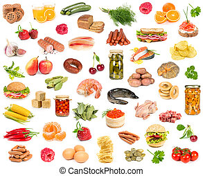 alimento, diferente, conjunto