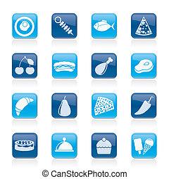 alimento, diferente, tipo, ícones