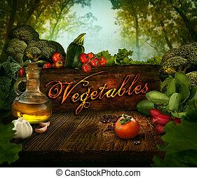 alimento, diseño, -, verduras frescas, en, apio, bosque