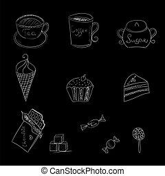 alimento, doce, algum, bebidas