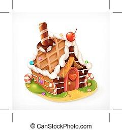 alimento, doce, casa, vetorial, gingerbread, ícone