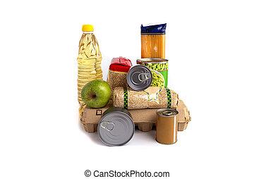 alimento, donaciones, aislado, blanco, conjunto