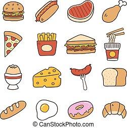 alimento, doodle, ícone