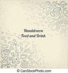 alimento, doodle, ícones