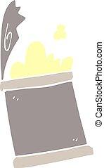alimento, doodle, abertos, lata, caricatura