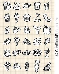 alimento, doodle, bebida, mão, desenhar