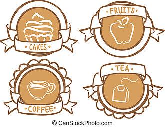 alimento, doodle, emblema