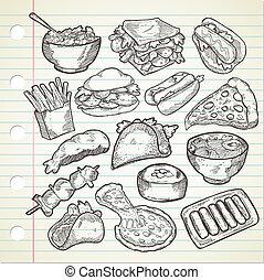 alimento, doodle, estilo, vário