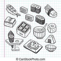 alimento, doodle, jogo, japoneses, ícone