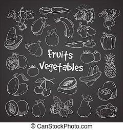 alimento, doodle, legumes, veggie, mão, saúde, frutas, desenhado, refeição