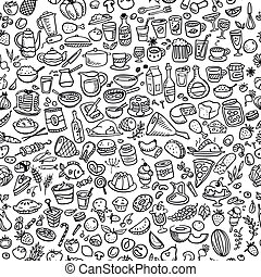 alimento, doodle, seamless, fundo, ícones