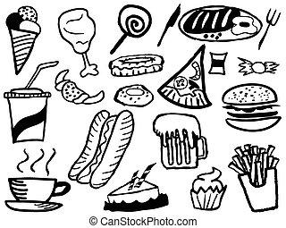alimento, doodle, tranqueira, fundo