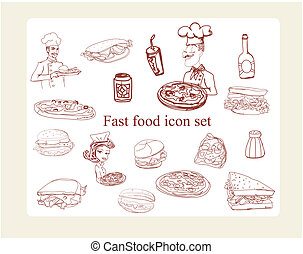 alimento, doodles, conjunto, icono