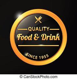 alimento, dorado, insignia, bebida, calidad