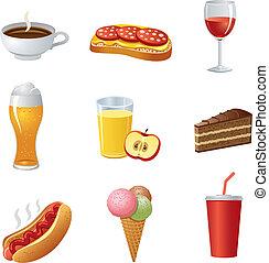 alimento, drinkl, jogo, ícone