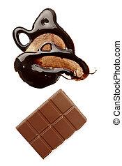 alimento, dulce, el escaparse, chocolate, sucio, mancha, ...