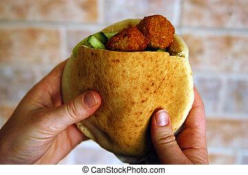 alimento, e, cozinha, -, falafel
