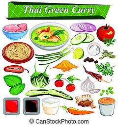 alimento, e, tempero, ingrediente, para, tailandês, caril verde