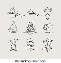 alimento, e, utensílios, jogo, de, vetorial, ícones