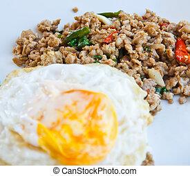 alimento, egg., manjericão, tailandia, fritado, movimento