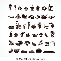 alimento, elementos, iconos