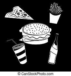 alimento, elementos, jogo, rapidamente